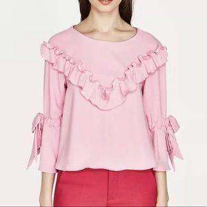• Zara • Pink Ruffle Bell Sleeve Top
